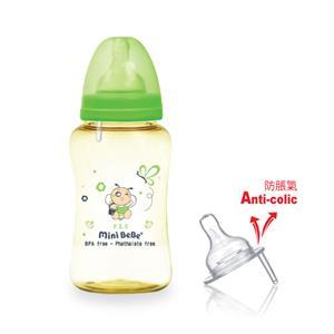 【蜜妮寶貝嬰童用品館】PES防脹氣寬口胖胖奶瓶 (容量: 300ml/10oz 顏色: 橘/綠)