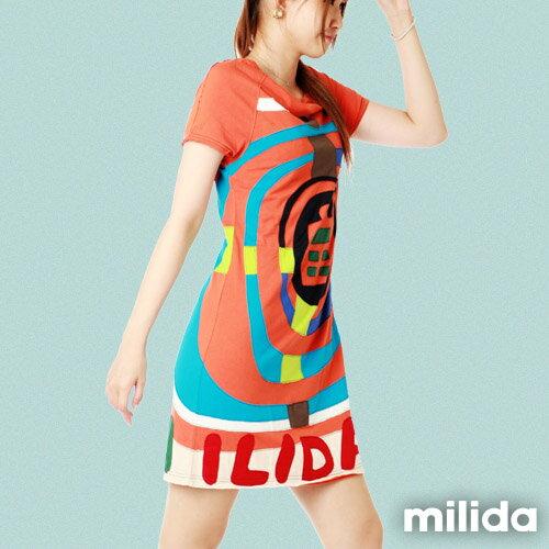 【Milida,全店七折免運】斜領休閒優質洋裝 1