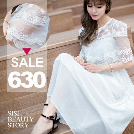 SISI【D6042】優雅名媛韓版網紗蕾絲雕花披肩縮腰雪紡長裙洋裝連身裙