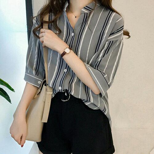 *ORead*韓版寬鬆大碼七分袖條紋襯衫(4色M~4XL) 2