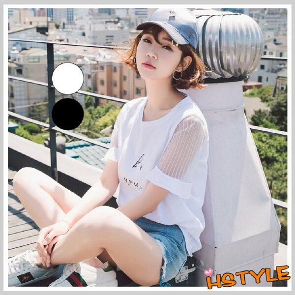 T恤圓領印花網紗短袖T恤EQ10706-創翊韓都