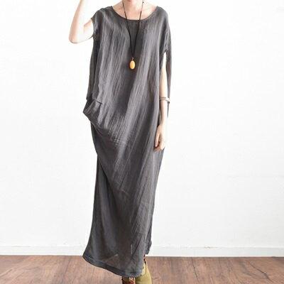 連身長裙寬版連衣裙-左右不對稱純色棉麻女上衣2色73sm12【獨家進口】【米蘭精品】