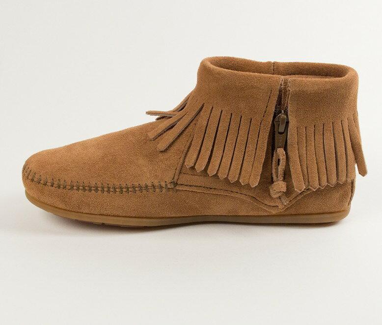 【Minnetonka 莫卡辛】土駝色 - 麂皮流蘇羽毛踝靴 3