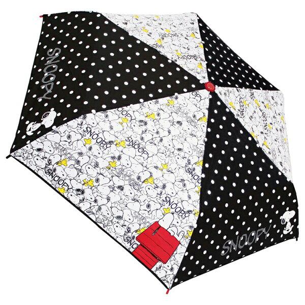 史努比 snoopy彎曲把手 折傘 雨傘 摺疊傘 附傘套 輕量晴雨傘 黑白 53CM 日本進口正版 060995