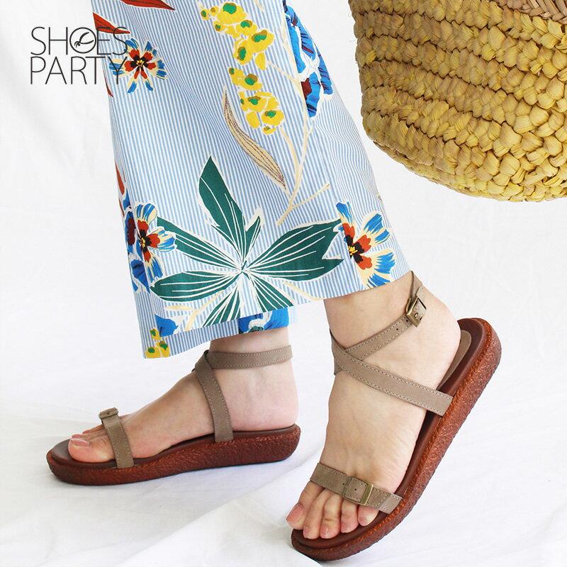 【S2-18706L】Simple+可調寬度,繞帶Q彈漢堡底涼鞋_Shoes Party 1