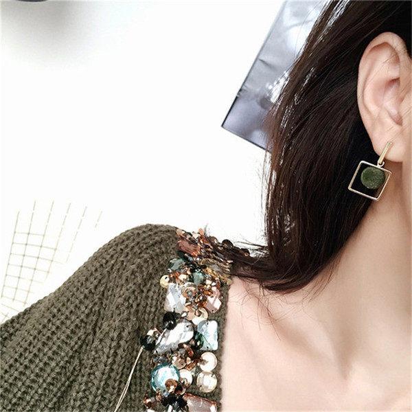 PS Mall   幾何方形絨球耳釘 百搭多色絲絨球耳線耳環~G2375~