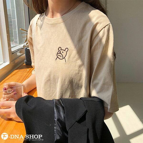 F-DNA★萌萌小熊刺繡圓領短袖上衣T恤(3色-均碼)【ET12703】 4