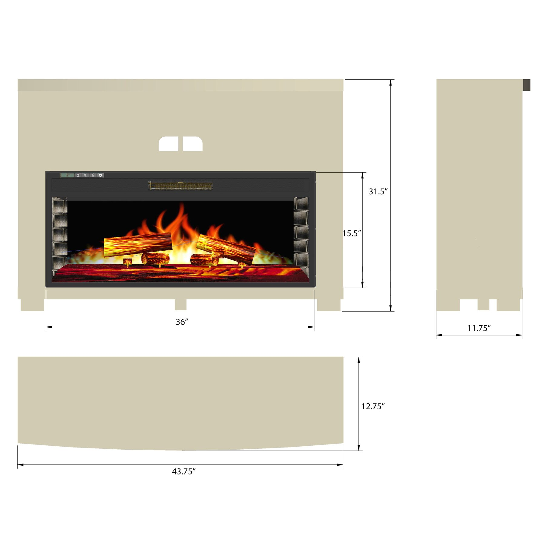 "AKDY 44"" Freestanding Insert Wooden Mantel 3D Flame Black Fireplace Heater Stove w/ Remote 1"