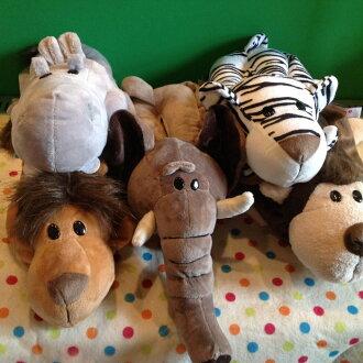 =優生活=叢林動物系列大象猴子老虎獅子河馬卡通毛絨面紙套 創意車用面紙套