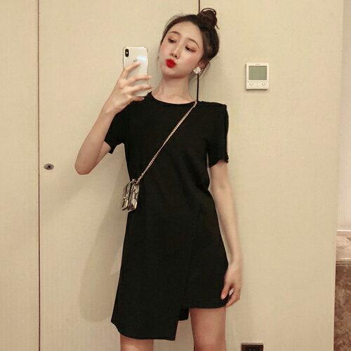 PS Mall 極簡不規則連身裙 圓領短袖造型短洋裝【T720】 - 限時優惠好康折扣