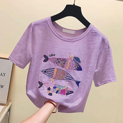 *ORead* 小魚刺繡純棉寬鬆T恤(3色S~XL) 2