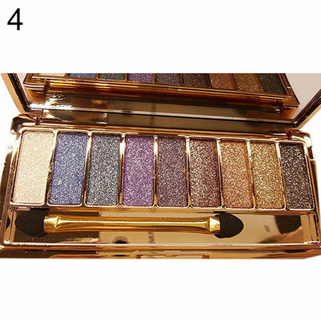 9 colors Waterproof Makeup Glitter Eyeshadow Palette with Brush 5