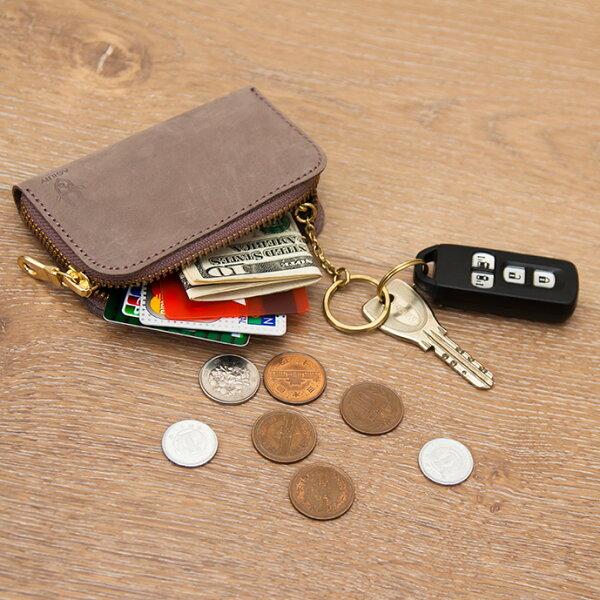 皮革夾層鑰匙零錢包