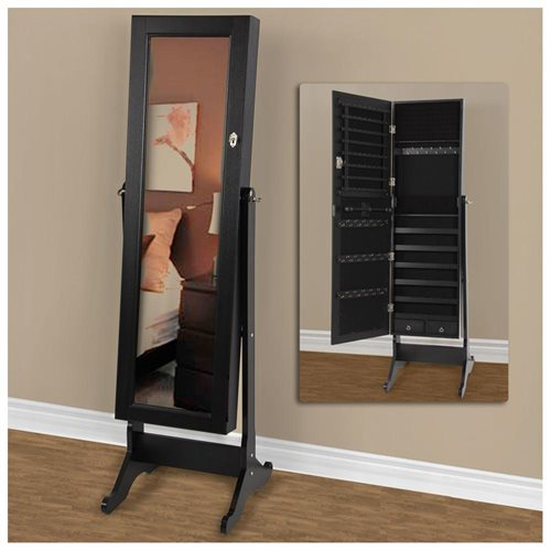 Best Choice Products Mirrored Jewelry Cabinet Armoire W/ Stand Rings, Necklaces, Bracelets - Black 1