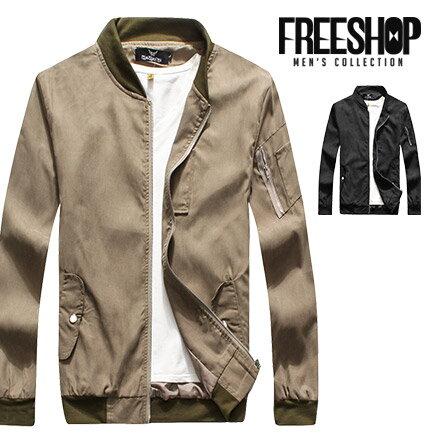軍裝夾克 Free Shop【QMD50201】美式休閒手臂拉鍊造型拼接螺紋領撞色MA-1軍裝夾克飛行外套 二色