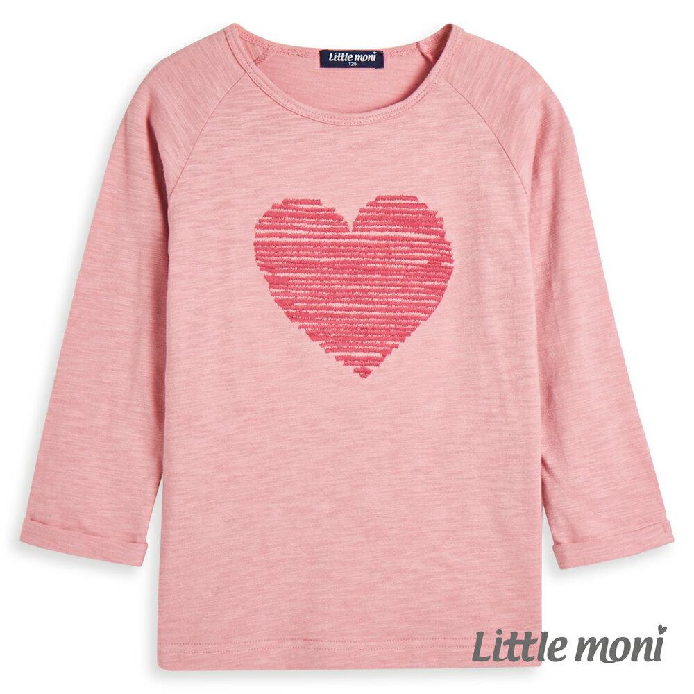 Little moni 愛心刺繡上衣-粉紅