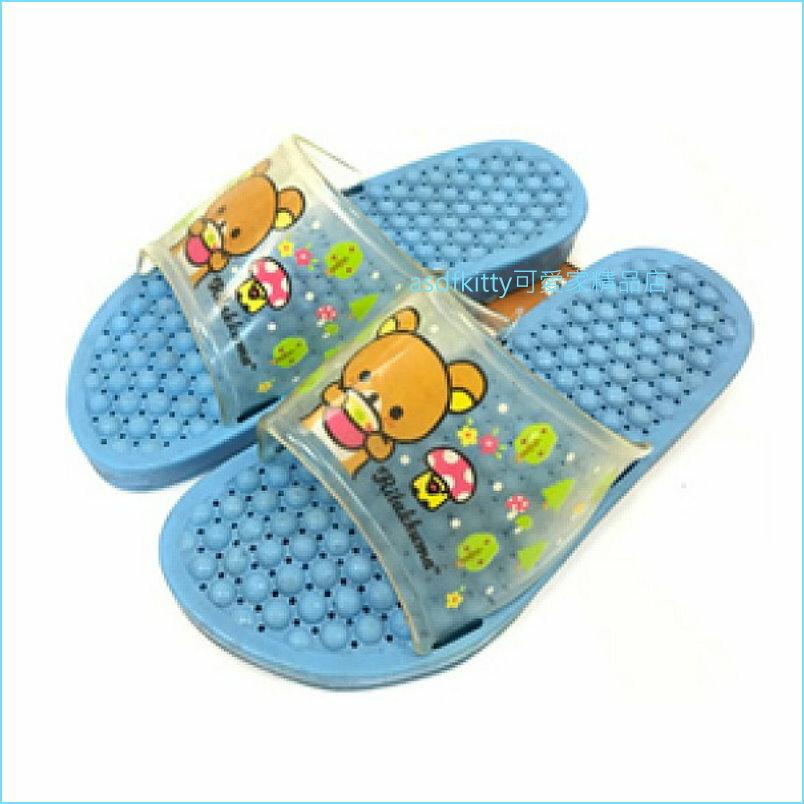 asdfkitty可愛家☆拉拉熊藍色兒童用浴室拖鞋/室內拖鞋-20公分-韓國製