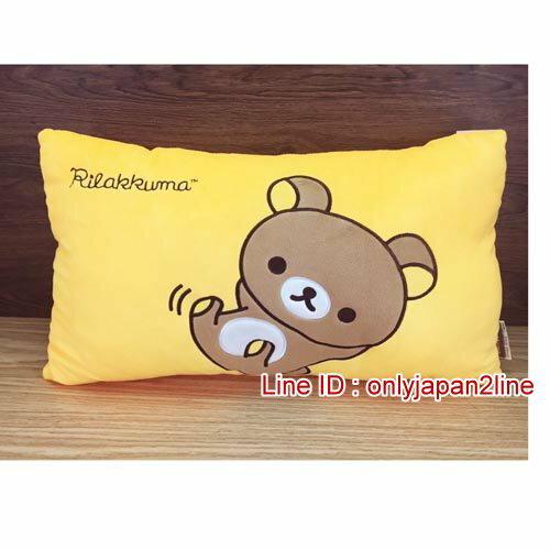 【真愛日本】16120300001大臉雙人枕-懶熊  SAN-X 懶熊  奶熊 拉拉熊 抱枕 靠枕 娃娃 枕頭 生活用品