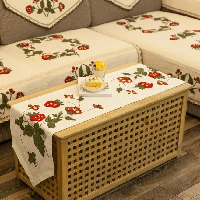 美式鄉村刺繡桌布手工布藝 餐桌旗 桌布 鞋櫃蓋布 桌巾 歐式桌旗-草莓刺繡/單售