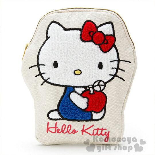 〔小禮堂〕Hello Kitty 刺繡造型筆袋《白.拿蘋果.側坐》帆布布材質