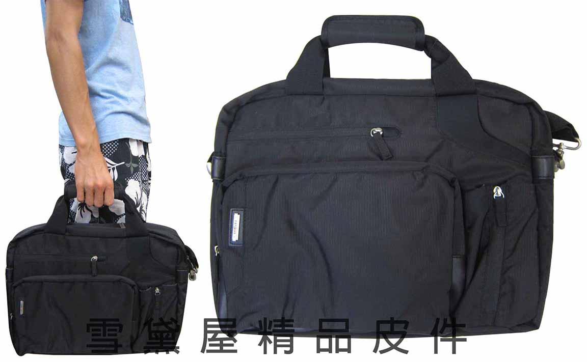 ~雪黛屋~eeBag 公事包進口專櫃電腦包可17吋電腦中大型文件包高單數進口防水布可A4資料夾底部可加大容量EB077