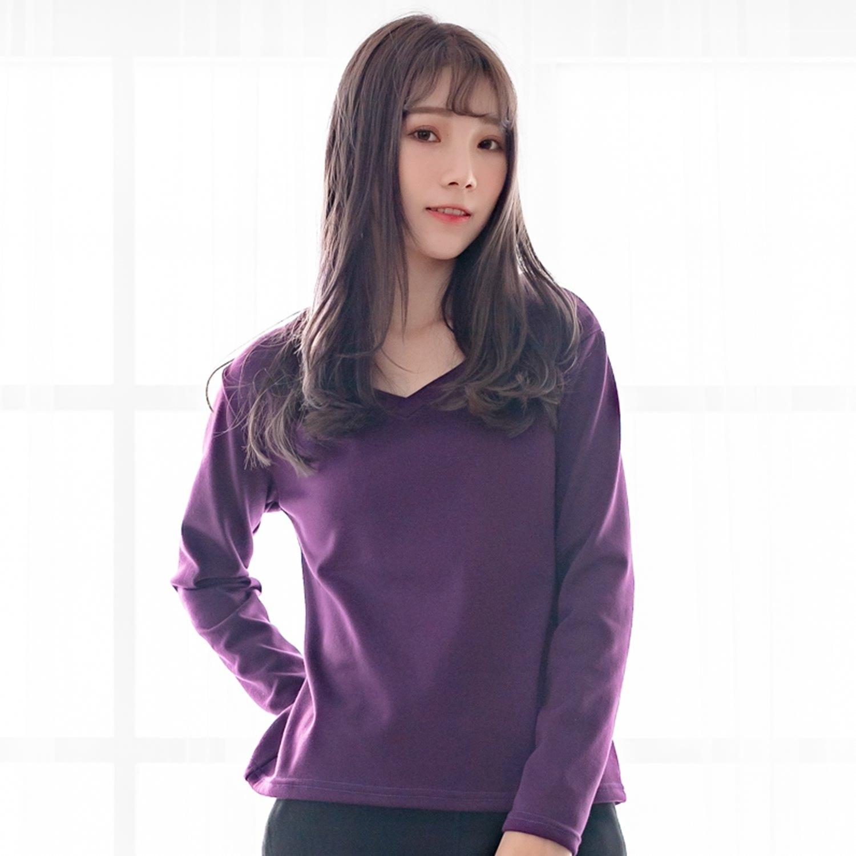 加大尺碼--保暖舒適百搭素色加絨V領長袖T恤上衣(黑.紅.咖.紫M-3L)-F162眼圈熊中大尺碼 2