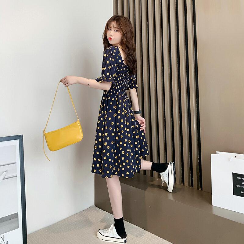 2020新款夏季氣質小香風一字領連衣裙仙女超仙森系小個子長款裙子