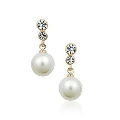 ~玫瑰金耳環925純銀鑲鑽耳飾~ 復古珍珠 情人節生日 女飾品2色73gs75~ ~~米蘭