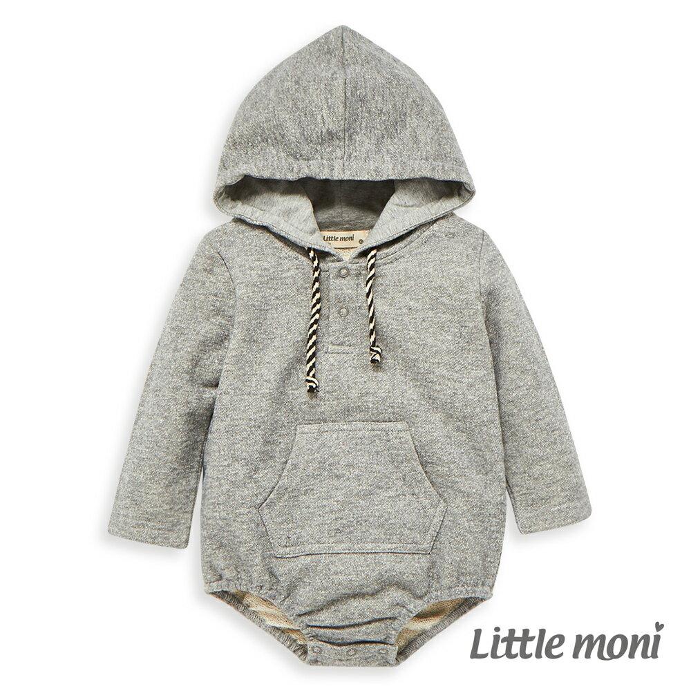 Little moni 連帽包屁衣-麻花灰 0