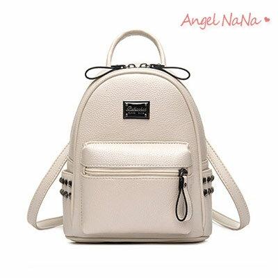 後背包側背包2way-耐磨超纖皮鉚釘女包 AngelNaNa 【BA0218】