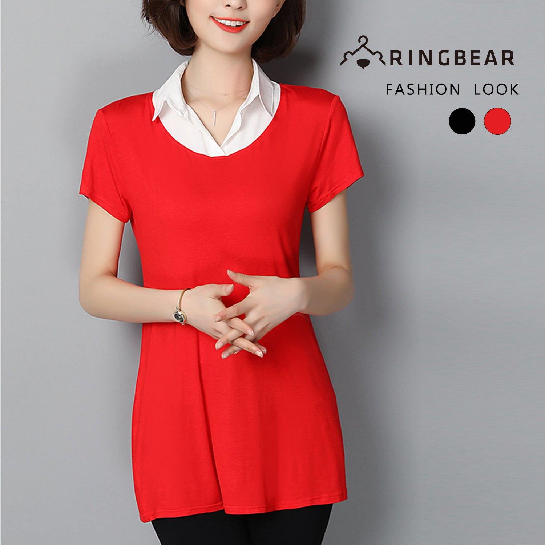 棉麻上衣--氣質優雅修飾A字版型超彈力襯衫領假兩件上衣(黑.紅M-3L)-H183眼圈熊中大尺碼 0