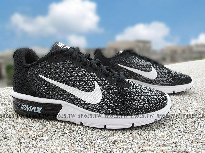 ├超取199免運┤Shoestw【852465-002】NIKE WMNS AIR MAX SEQUENT 2 慢跑鞋 黑白 氣墊 女款【12/1-31 單筆滿2000結帳輸入序號 XmasGift-..