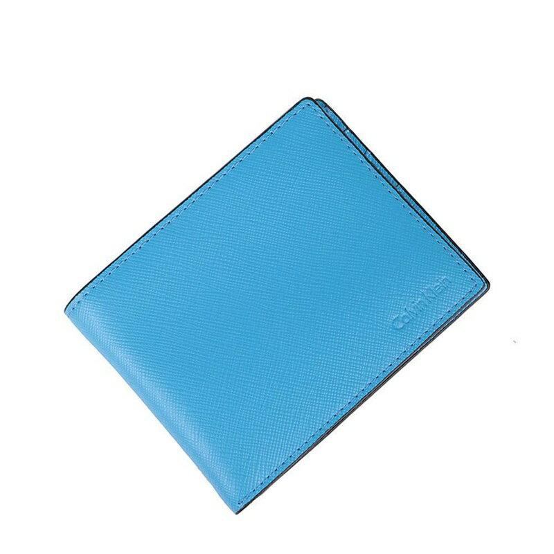 【瞎買天堂x現貨免運】CALVIN KLEIN CK 真皮天藍短夾附鑰匙圈 皮夾 錢包 79515【CBCK0103】