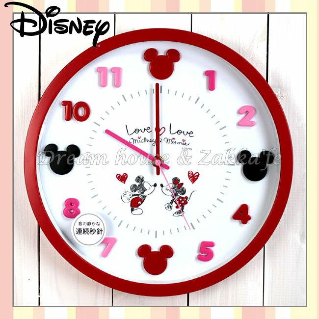 日本正版 Disney 迪士尼 米奇米妮 LOVE Mickey 掛鐘/時鐘《 靜音無聲連續機芯 》★ 簡單時尚可愛 ★ 夢想家精品家飾