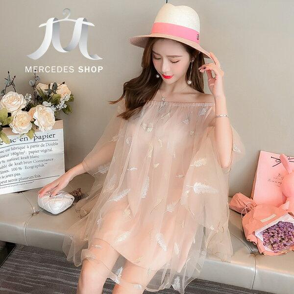 《全店75折》韓國度假風網紗羽毛刺繡連身裙短袖洋裝(M-L,2色)-梅西蒂絲(現貨+預購)