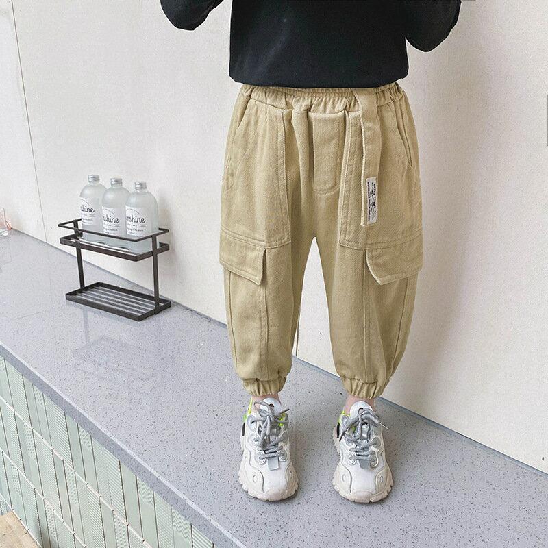 童裝寶寶休閒褲2021春裝新款韓版男童洋氣工裝褲中小童寬鬆長褲子