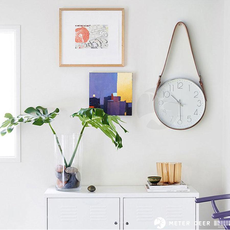 簡約主義 皮革 皮帶 北歐風 靜音 懸掛時鐘 阿拉伯數字 刻度 法式 工業風格 LOFT 玫瑰金 金屬銀 掛鐘-米鹿家居