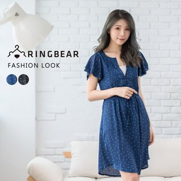 氣質洋裝--性感心機輕甜V領點點荷葉短袖附綁帶雪紡連身裙(黑.藍XL-5L)-D409眼圈熊中大尺碼