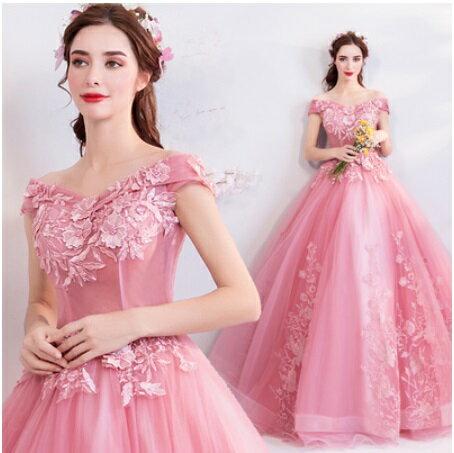 天使嫁衣【AE026】粉色卡肩一字領蕾絲貼花齊地晚禮服˙預購訂製款