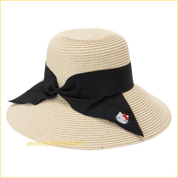 asdfkitty可愛家☆KITTY編織風米色黑蝴蝶結可折疊遮陽帽圓邊帽-日本正版商品