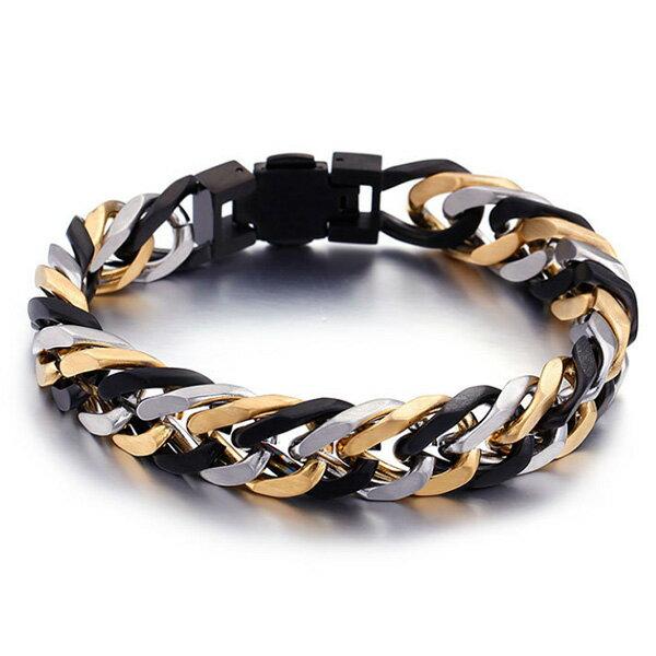 《QBOX》FASHION飾品【BKB92959】精緻個性高質感多層次顏色環扣鈦鋼手鍊手環