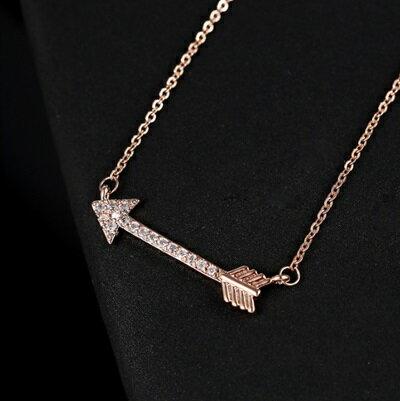 玫瑰金項鍊 鑲鑽純銀吊墜~浪漫愛神之箭 生日情人節 女飾品73dw94~ ~~米蘭 ~