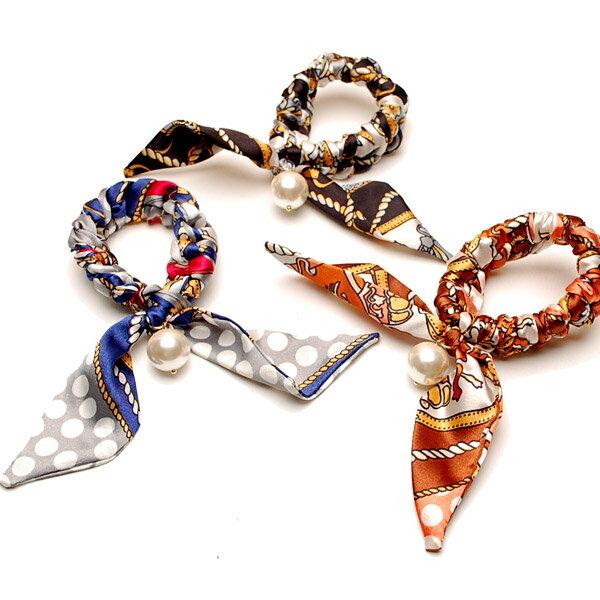 Scarf & Pearl Chouchou 珍珠絲巾髮飾