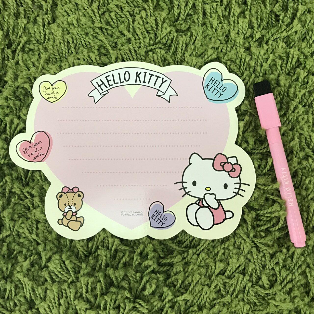 【真愛日本】17112300027 磁鐵留言板附筆-KT愛心粉 三麗鷗 kitty 凱蒂貓 文具 公佈欄 居家生活 日用