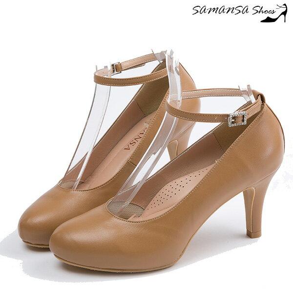 [SAMANSA] MIT真皮 性感顯瘦百搭內增高繫帶三穿高跟鞋 --#14402 焦糖棕