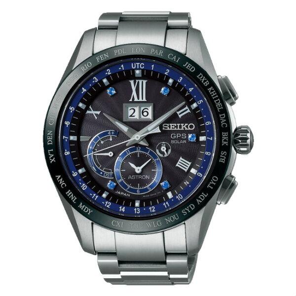 SeikoAstron8X42-0AA0D(SSE145J1)五週年限量太陽能GPS對時大視窗日期鈦金屬腕錶黑面44.8mm
