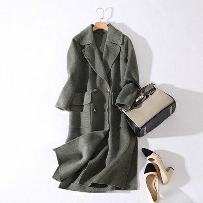 毛呢外套羊毛大衣-西裝領直筒型純色長版女外套3色73ty22【獨家進口】【米蘭精品】