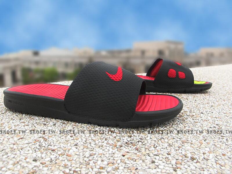 Shoestw【431884-011】NIKE BENASSI SOLARSOFT SLIDE拖鞋 黑紅 男女都有