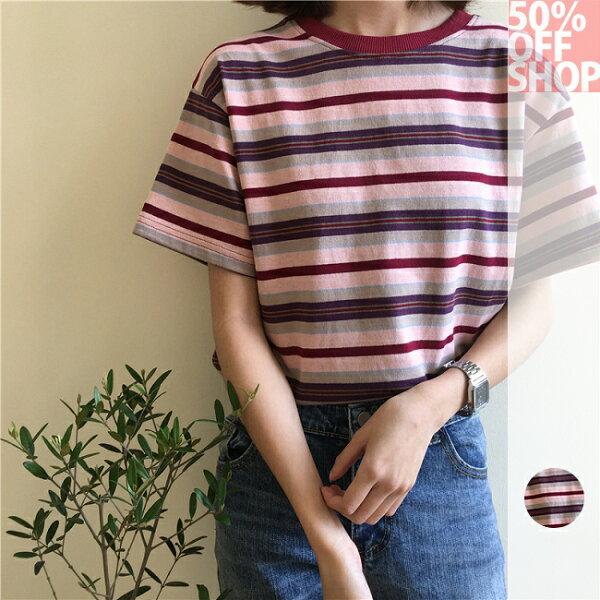 50%OFFSHOP韓國ulzzang撞色條紋短袖T恤(1色)【G035665C】