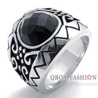 《 QBOX 》FASHION 飾品【W10020140】精緻個性圖騰紋路黑鋯石316L鈦鋼戒指/戒環